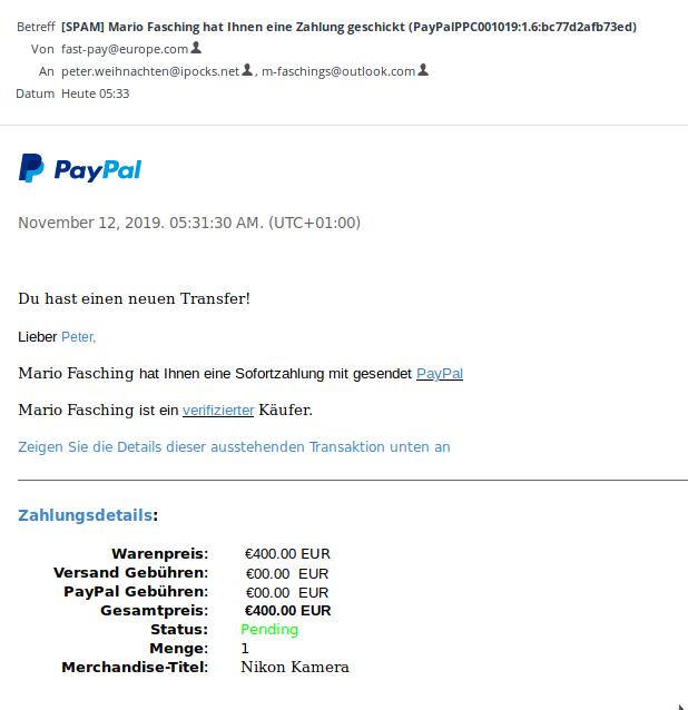 gefällschte Paypal-E-Mail